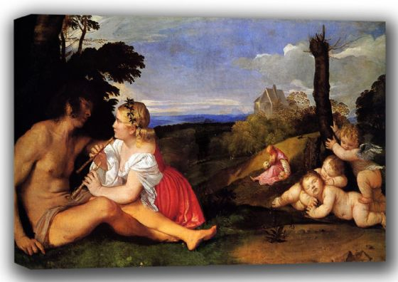 Titian (Tiziano Vecellio): The Three Ages of Man. Fine Art Canvas. Sizes: A4/A3/A2/A1 (001850)